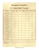 Benjamin Franklin Habit Tracker
