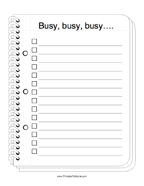 Busy To Do List