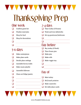 Thanksgiving Prep List