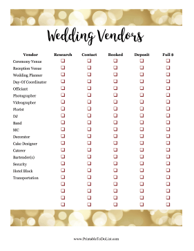 Wedding Vendors Checklist
